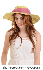 isolated vintage woman with straw hat