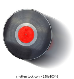 Isolated Vinyl Record In Motion (with clipping patch). High quality stock photo.