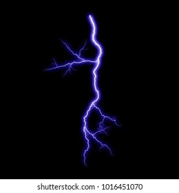 Isolated violet electrical lightning strike visual effect on black background.