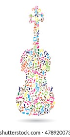 Isolated violin made of musical notes on white background. Colorful notes pattern. Note shape. Poster and decoration idea.