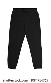 isolated warm black fleece pants on white background