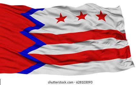Isolated Washington City Flag, City of Maine State, Waving on White Background, High Resolution