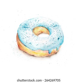 Isolated watercolor blue donut
