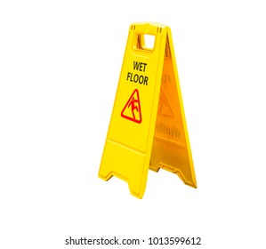 Isolated wet floor sign on white background