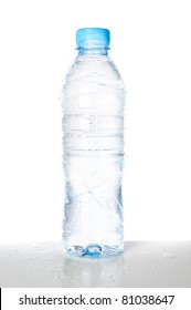 Isolated wet plastic water bottle
