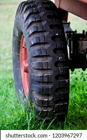 Isolated wheel on the grassy surface unique photo