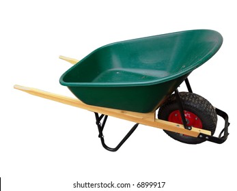 Isolated wheelbarrow gardening tool on white background