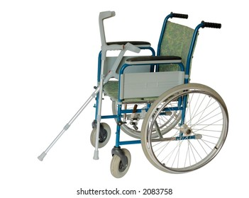 Isolated wheelchair and crutches