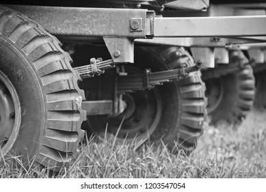 Isolated wheels of a tractor trailers unique photo
