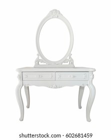 Isolated white antique  dressing table , clipping path