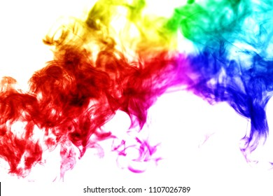 Isolated white background abstract rainbow smoke flowing liberate human right of LGBT freedom concept Proud and love to be. Use to celebrate gay pride month coming out of gender & sexuality equality