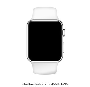 Isolated white band silver aluminum case smart watch on white background
