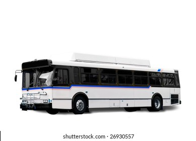 A isolated white city bus with clipping path