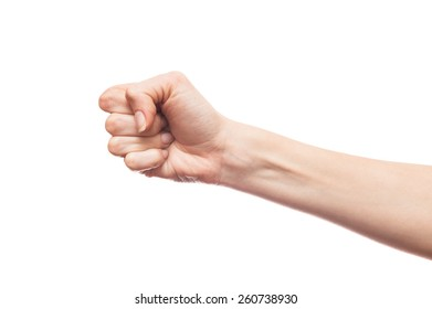 Isolated white hand showing a fist