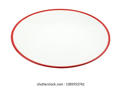 Isolated white plate with red piping on white background