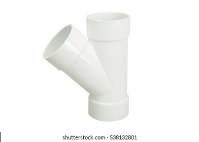 Isolated white PVC fittings on white background, Plumber tube for water isolated on a white background, plastic fittings for water pipeline, white pipe