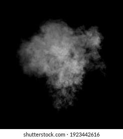 Isolated white smoke effect on black background.