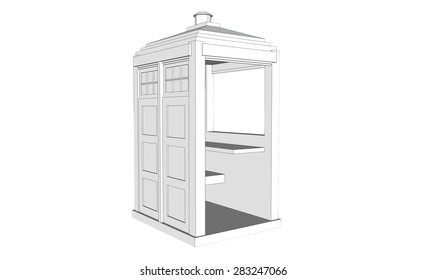 isolated white vintage guardhouse on white background