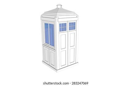 isolated white vintage guardhouse on white background