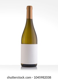 Isolated White Wine Bottle in a White Background, fresh and Clean with Gold Capsule and White Label