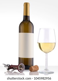 Isolated White Wine Bottle in a White Background, fresh and Clean with Gold Capsule, White Label and Glass