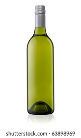 Isolated white wine bottle with a clipping path