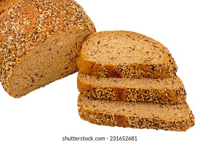 Isolated Wholemeal bread slice with poppy, sunflower, and sesame seeds on a bread broad