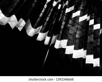 Isolated window curtain clothes black and white photo