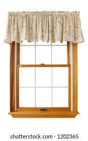 Isolated Window with floral valance.