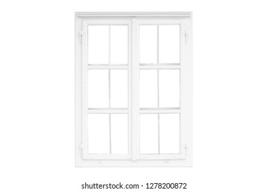 Isolated window frame on white. Old traditional white window