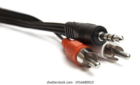 Isolated wire ends on a clear background.audio video cables RCA Connectors on a white background for excellent sound or sound transmission, audio cable for excellent sound quality .white-red bell