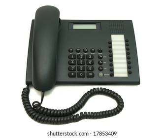 Isolated wire telephone on white background.