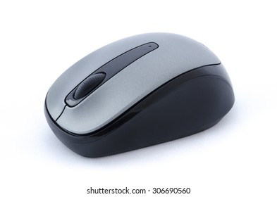 Isolated wireless computer mouse on white background
