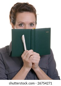 Isolated woman with book and pen