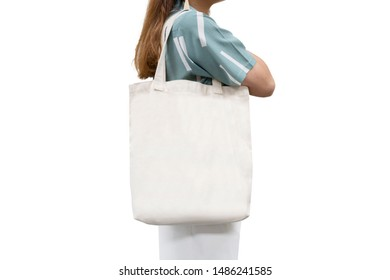 isolated woman carried white canvas tote bag with black copyspace