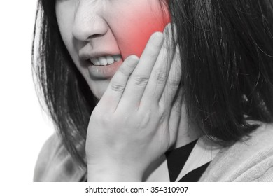 isolated woman face with toothache symptom