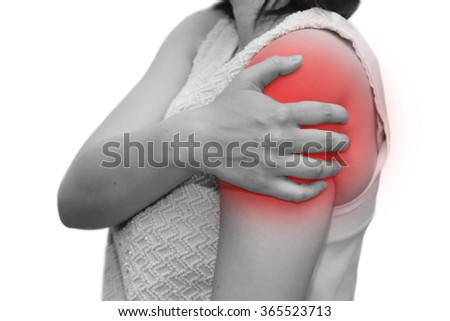 Isolated Woman Grab Her Shoulder R Stock Photo (Edit Now
