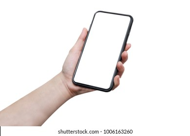 isolated woman hand hold full screen mobile phone with blank copyspace on white background