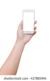 isolated woman hand hold smart phone on white background