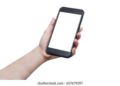 Isolated woman hand holding mobile phone with blank copy space