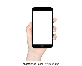 Isolated woman hand holding modern smartphone on white background 3d rendering