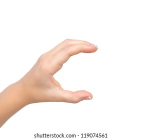isolated woman hand holding the object