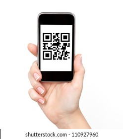 isolated woman hand holding the phone tablet touch computer gadget with qr code