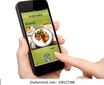 isolated woman hand holding the phone touch with a mobile wallet and ticket discount in restaurant