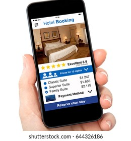 isolated woman hand holding phone with app hotel booking on screen