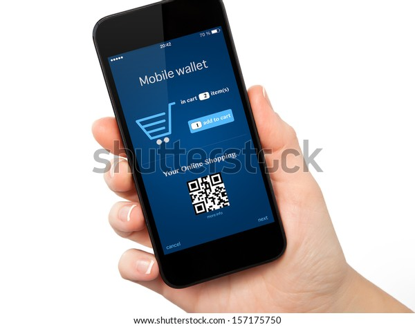 isolated woman hand holding the phone with mobile wallet onlain shopping on the screen