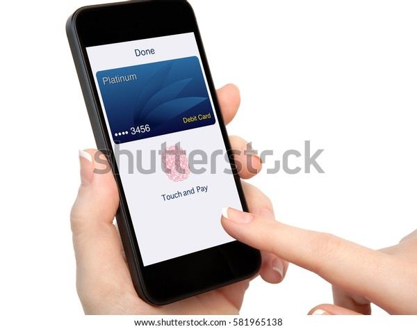 isolated woman hand holding phone with debit card and app touch pay on screen
