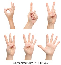 isolated woman hands show the number one, two, three, four, five
