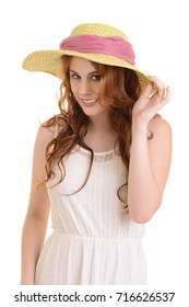 isolated woman holding straw hat