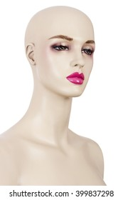 Isolated woman mannequin with makeup